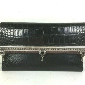 Brighton Vtg Black Leather Clutch Wallet–No Strap